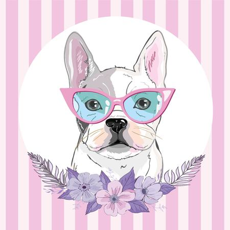 bulldog with flowers, illustration vector