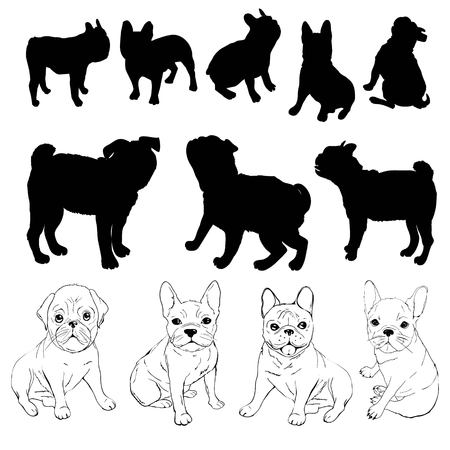 bulldog silhouette, dog - vector, illustration