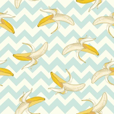 Vector pattern bananas. Made in the cute style. Stock Illustratie