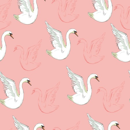 Seamless pattern with white swans. Vector.