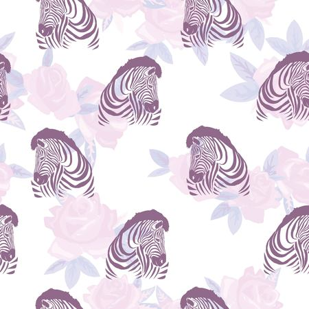 Sketch Seamless pattern with wild animal zebra print, silhouette on white background. Vector illustrations. Wild African animals. Stock Illustration - 100853594