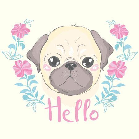 かわいい漫画の犬の子犬とベクトルシームレスパターン。背景、壁紙、ファブリックや他のデザインとして使用することができます。フレンチブル