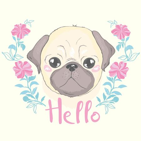 Vector seamless pattern with cute cartoon dog puppies. Can be used as a background, wallpaper, fabric and for other design.French Bulldog pattern Reklamní fotografie - 100785846
