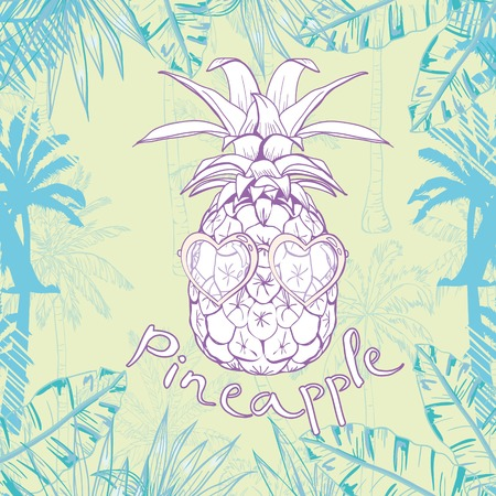pineapple with glasses tropical, vector, illustration, design, exotic, food, fruit, background, design, exotic, food, fruit, glasses, illustration nature pineapple summer tropical vector drawing fresh healthy isolated plant sweet white dessert hawaii leaf 向量圖像