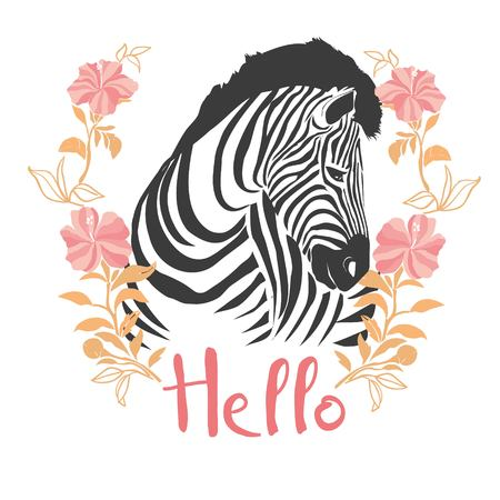 Zebra portrait . Vector illustration. Stock Photo