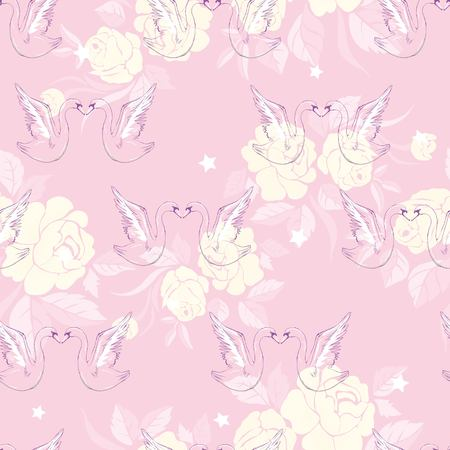 Seamless pattern with swans. Vector.