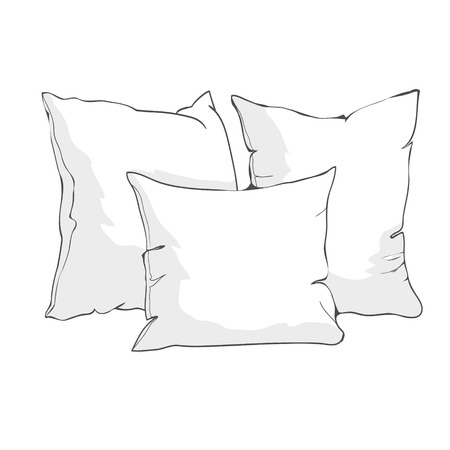 sketch vector illustration of pillow, art, pillow isolated, white pillow, bed pillow 向量圖像