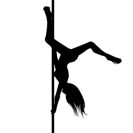 Vector silhouette of girl and pole on a white background. Pole dance illustration.