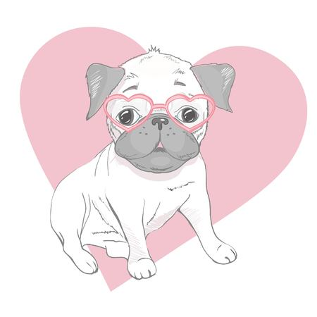Funny puppies of french bulldog. Vector funny french bulldog, puppy cute, pet drawing sketch illustration Illustration