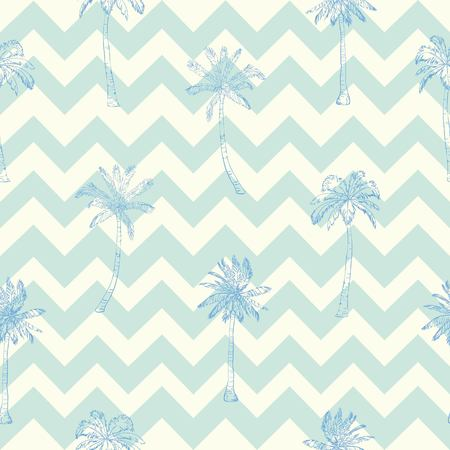 Palm tree pattern. Seamless hand drawn textures on exotic trendy background. Nature textile print. Modern tropical template for web, card, placard, poster, cover, flyer, invitation, brochure, banner. Illustration