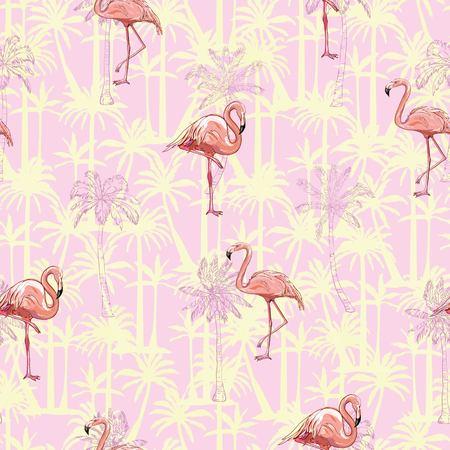 flamingo, pattern, pink, seamless, vector, background, bird, design, nature, summer, tropical