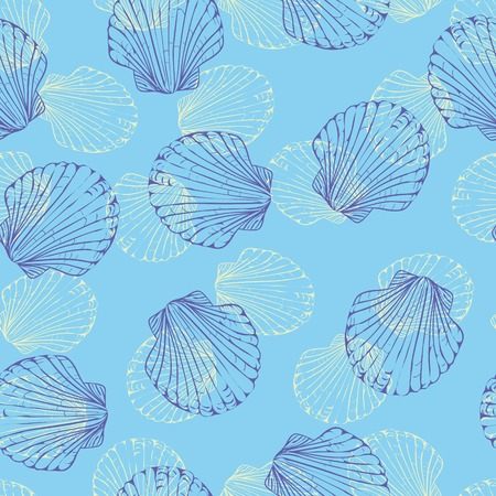 Vector seamless pattern with hand drawn scallop shells. Beautiful marine design elements, perfect for prints and patterns.