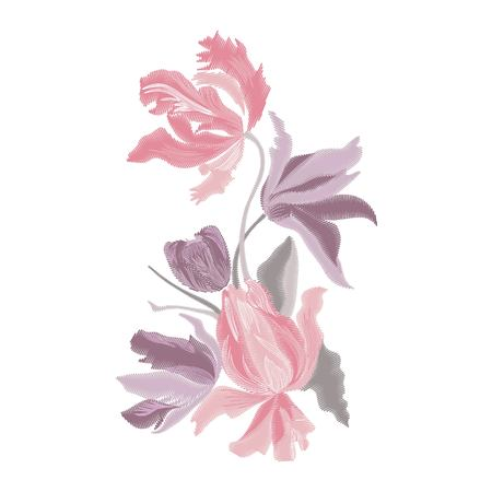 Embroidery bouquet of tulips. Fashionable template for design of clothes.