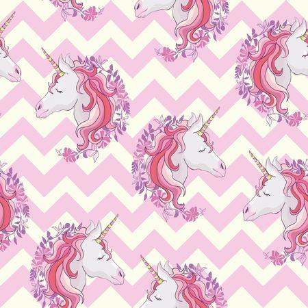 Unicorn seamless pattern. Unicorns with rainbow mane and horn on flat purple background with stars. Vector illustration.