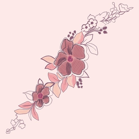 embroidery flowers. Traditional embroidery vector illustration