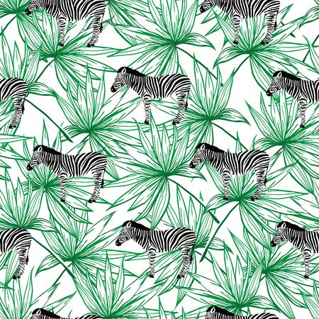 Sketch Seamless pattern with wild animal zebra print, silhouette on white background. Vector illustrations. Wild African animals. Stock Photo