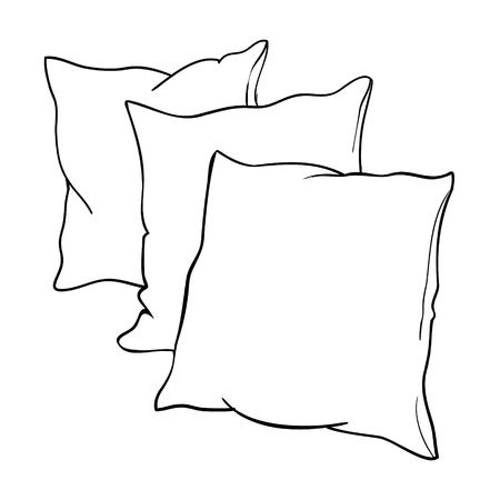 sketch vector illustration of pillow, art, pillow isolated, white pillow, bed pillow 版權商用圖片