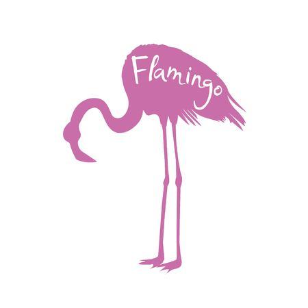 Flamingo. Vector illustration, silhouette, beautiful, bird symbol vector pink africa exotic Stock Photo