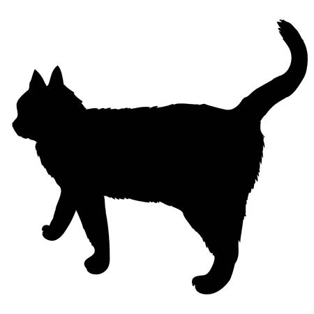 Black silhouette of cat sitting sideways isolated on white background. Vector illustration, icon, clip art.
