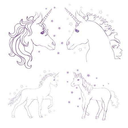 Sketch Unicorn, hand drawn ink illustration.Unicorn horse animal.White mythical horse head with long horn. Mythic symbol of fantasy horse