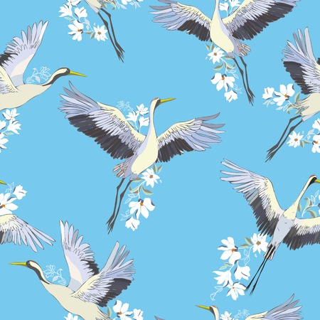 crane, pattern, vector illustration bird flower japanese flying