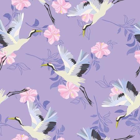 crane, flying, pattern vector illustration bird flower 写真素材