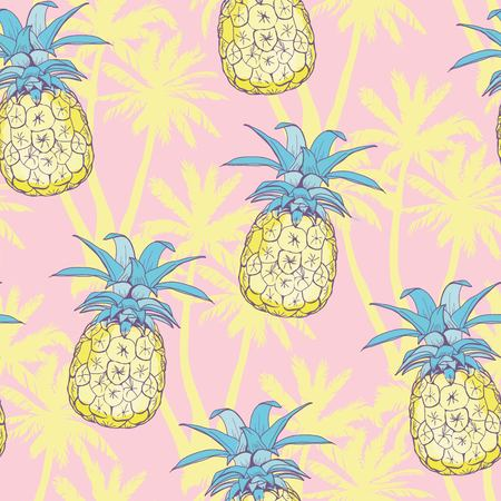 Pineapples background. Vector seamless pattern with tropical fruit. Sketch illustration. Фото со стока - 100857713