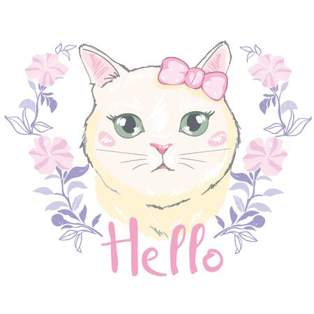 cute cat vector.T-shirt Print.Love cards.Valentine s Day.animal print.Children illustration for School books and more.Separate Objects.cartoon character.animal love.little princess.pussycat vector