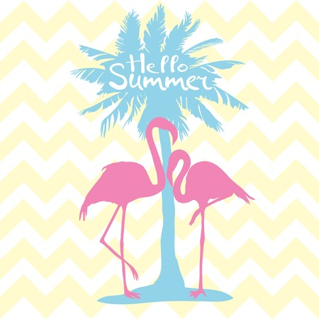 Flamingo. Vector illustration, silhouette, beautiful, bird symbol vector pink africa exotic Stock Photo