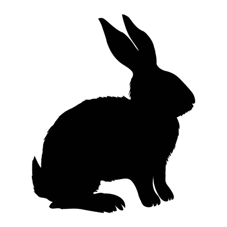 Silhouette rabbit, vector illustration Stock Photo