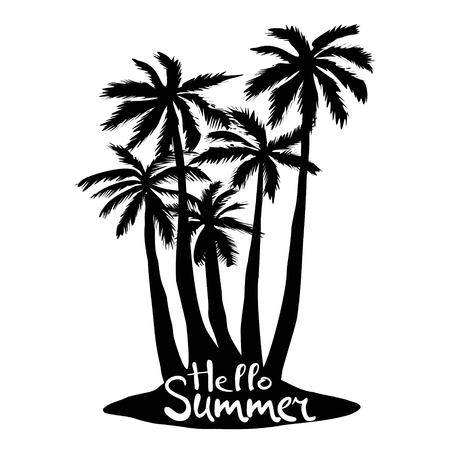 Black vector single palm tree silhouette icon isolated 版權商用圖片