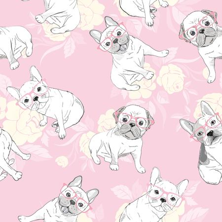 dog. french bulldog. heart sunglasses. glasses icon. illustration seamless pattern wallpaper background Standard-Bild - 100858532