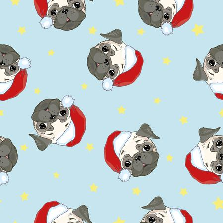 Seamless pattern with image of a Funny cartoon pugs puppies on a blue background. Vector illustration. Stok Fotoğraf