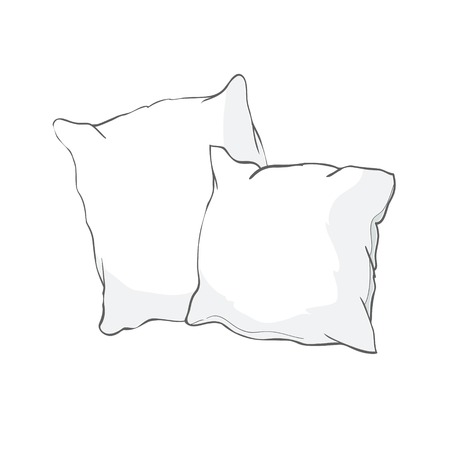 sketch vector illustration of pillow, art, pillow isolated, white pillow, bed pillow Imagens