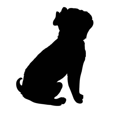 French Bulldog purebred dog standing in side view - vector silhouette isolated Stok Fotoğraf - 100858631