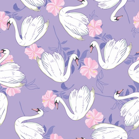 Swan lake seamless pattern