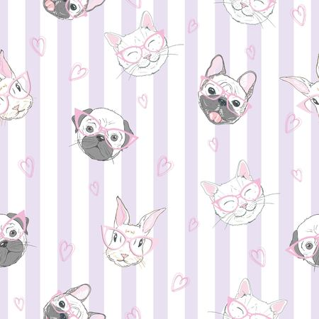 Funny girlish seamless pattern with cute kitty, dog, rabbit, faces. Фото со стока - 100859619
