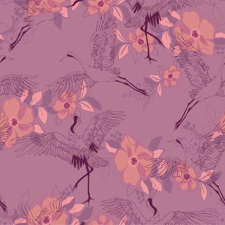 crane, pattern, vector illustration bird flower japanese flying