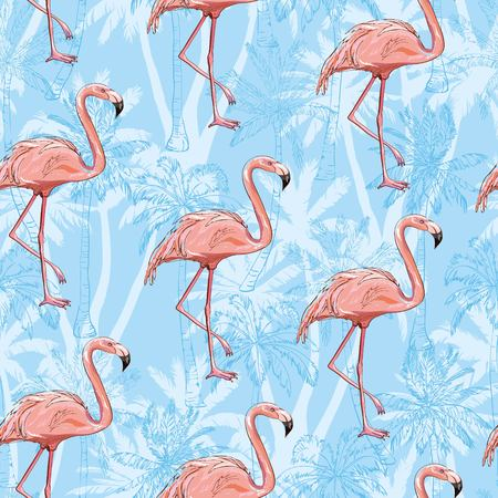 flamingo, pattern, pink, seamless, vector, background, bird, design, nature, summer, tropical