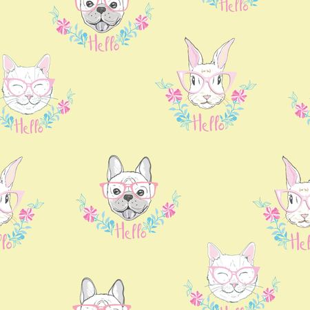 Funny girlish seamless pattern with cute kitty, dog, rabbit, faces. Фото со стока - 100860057