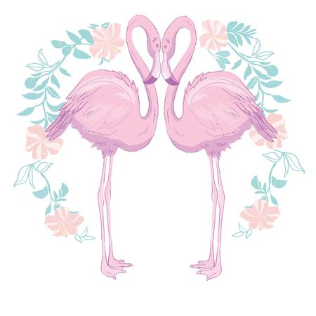 Pink flamingo vector illustration isolated on green background.