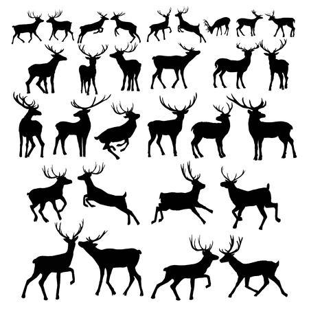 Deer silhouette isolated on white background. Vector, animal, deer, mammal, silhouette, vector, beautiful forest illustration isolated blackandwhite elk horns Stock Illustration - 100860283