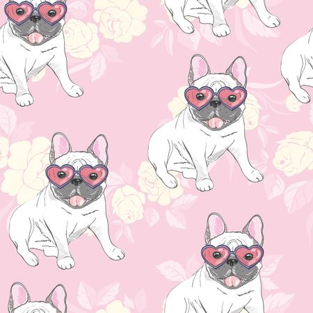 dog. french bulldog. heart sunglasses. glasses icon. illustration seamless pattern wallpaper background Standard-Bild - 100860286