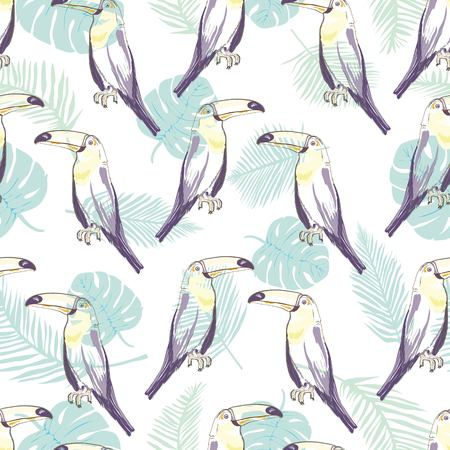 Seamless pattern with hand drawn toucan on white background Foto de archivo - 100860340