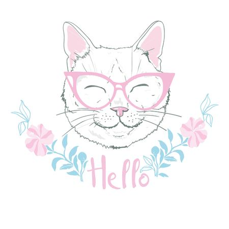 cute cat sketch vector illustration, print design cat, children print on t-shirt girl. hand drawn cat with glasses