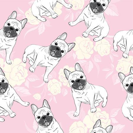 dog french bulldog. heart sunglasses. glasses icon. illustration seamless pattern wallpaper background Standard-Bild - 100860377