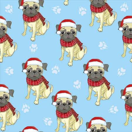 Vector seamless pattern with pug-dog in Santas hat and traces. Dog - animal symbol of New Year 2018. Stock Photo