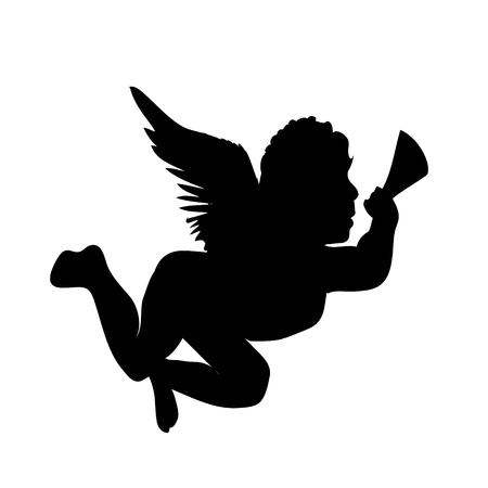 golden vector christmas angel silhouette icon illustration Stock Photo