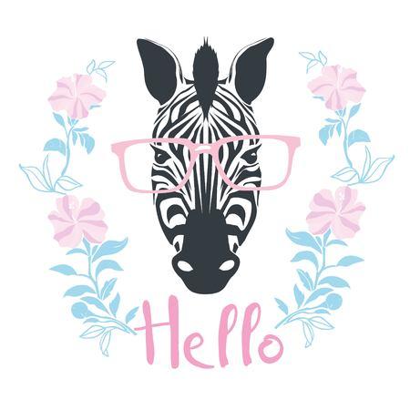 Zebra portrait . Vector illustration. Stock Photo