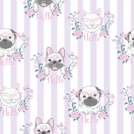 Funny girlish seamless pattern with cute kitty, dog, rabbit, faces. Фото со стока - 100861435